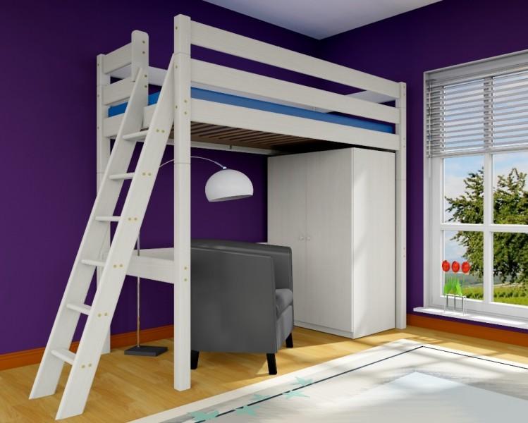 hochbett stockholm 2 h215 cm l2 schr ge leiter kiefer wei hochbetten h he 215 cm. Black Bedroom Furniture Sets. Home Design Ideas
