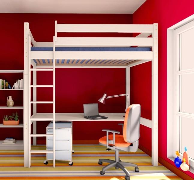 hochbett stockholm 2 h225 cm gerade leiter kiefer wei. Black Bedroom Furniture Sets. Home Design Ideas