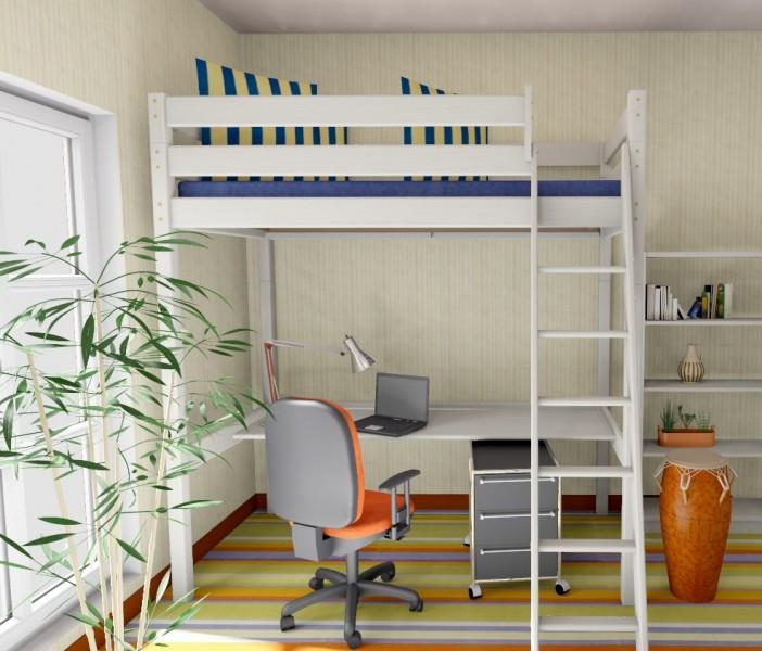 hochbett stockholm 2 h225 cm schr ge leiter kiefer wei. Black Bedroom Furniture Sets. Home Design Ideas