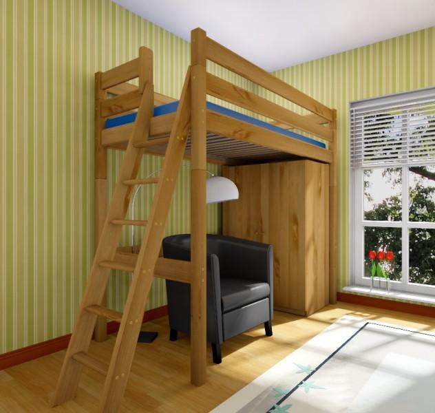 hochbett stockholm 2 h205 cm l2 schr ge leiter kiefer gelaugt und ge lt hochbetten h he 205 cm. Black Bedroom Furniture Sets. Home Design Ideas